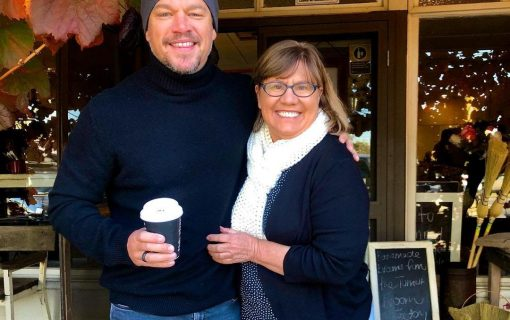 Hollywood star Matt Damon poses for a selfie with fan during visit to Jugiong