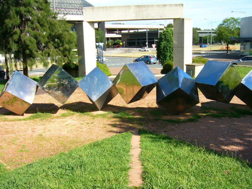 "Bert Flugelman, ""Tumbling Cones"", Margaret Timpson Park, Belconnen. Photo: Archives ACT."