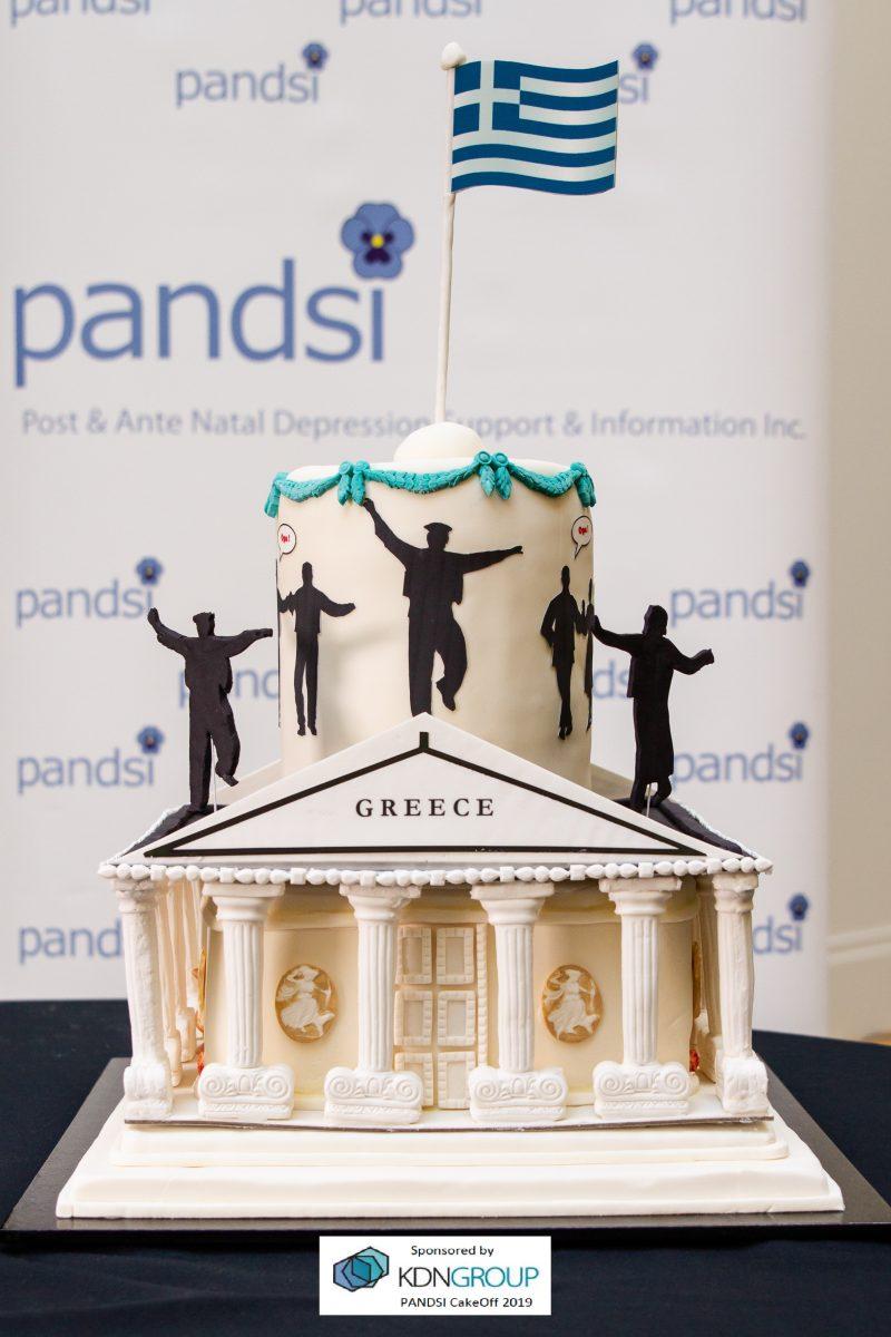 Greek-themed decorative cake