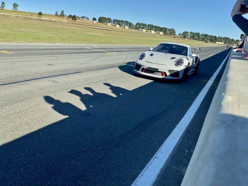 Porsche 911 GT3 RS in full flight at Wakefield Park Raceway