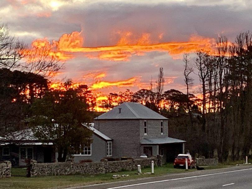 Orange sky above 'Rosythe' property in Breadalbane