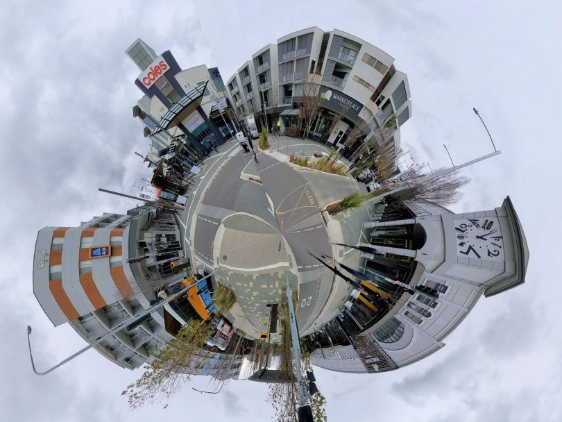 Panoramic circle of Gungahlin Marketplace intersection
