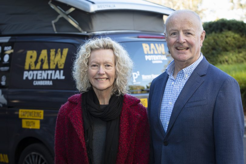 Woden Community Service CEO Jenny Kitchin and Raw Potential chairperson Paul Kane