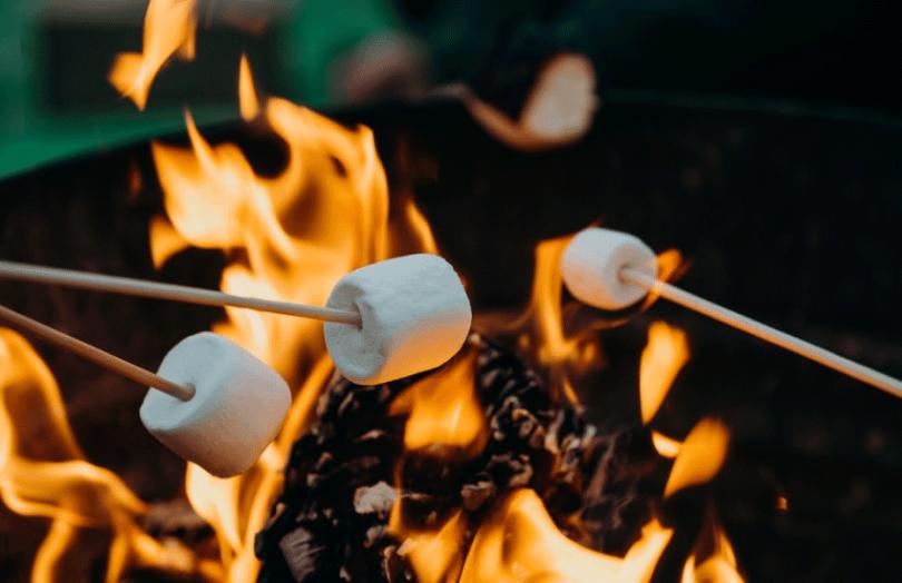 Marshmallows roasting over fire