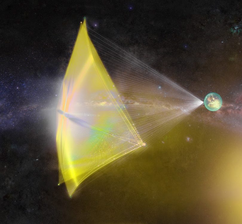 Image of a light sail in space