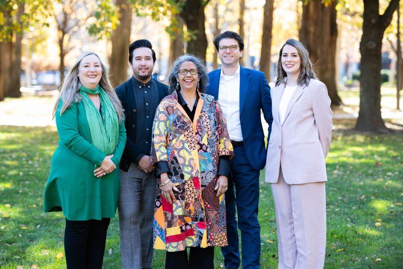 ACT Greens Candidates Kathryn Savery, James Cruz, Dr Tjanara Goreng Goreng, Tim Hollo and Natasa Sojic