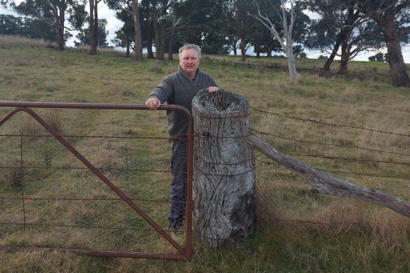 Chris Croker standing alongside an original surveyor's peg at 'Ayrston' property