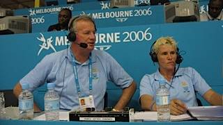 Phil Lynch in commentary with Michelle Timms at 2006 Commonwealth Games