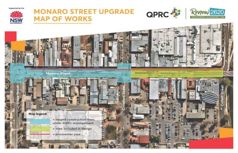 Overlay map of proposed work zones for Monaro Street upgrade in Queanbeyan