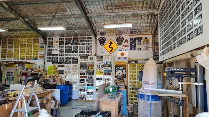 Number plates on walls of garage