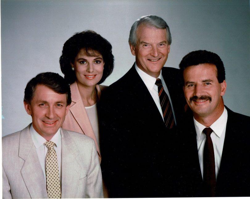 Original Prime News presenters in 1989: John Bock, Ann Sanders, Roger Climpson and Phil Lynch