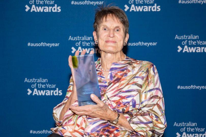 Sue Salthouse holding ACT Senior Australian of the Year award