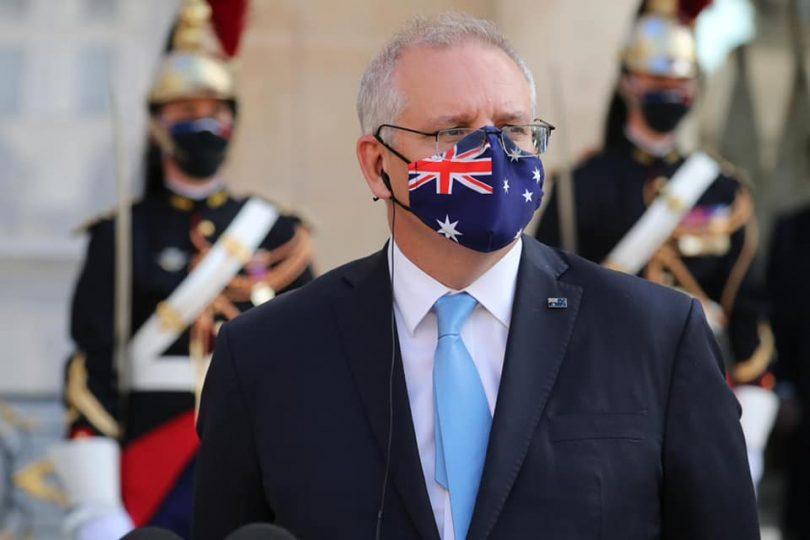 Prime Minister Scott Morrison wearing Australian flag face mask