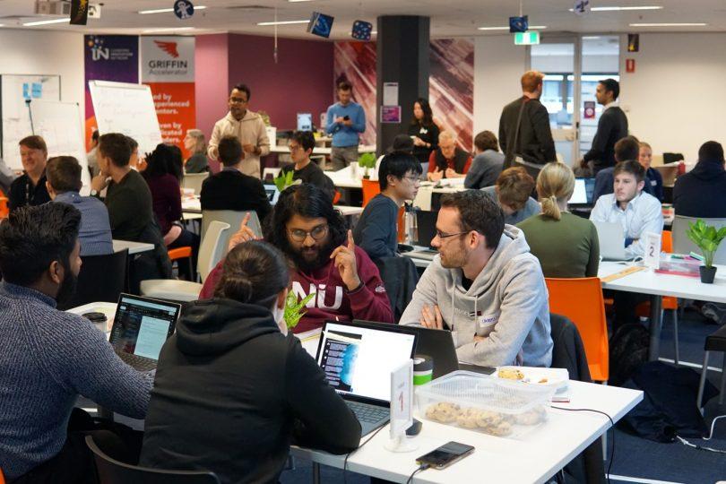 SpaceHack teams working during hackathon