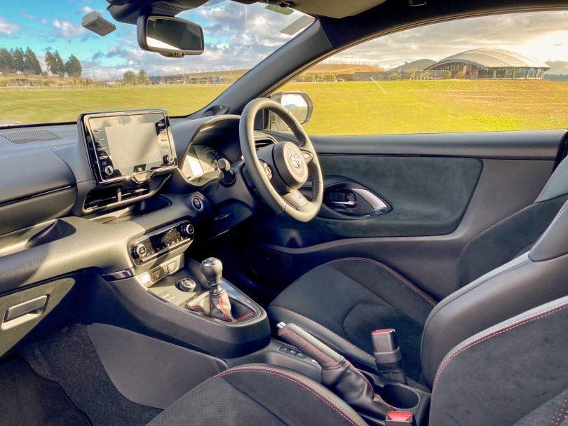 Interior of Toyota Yaris GR Rallye car