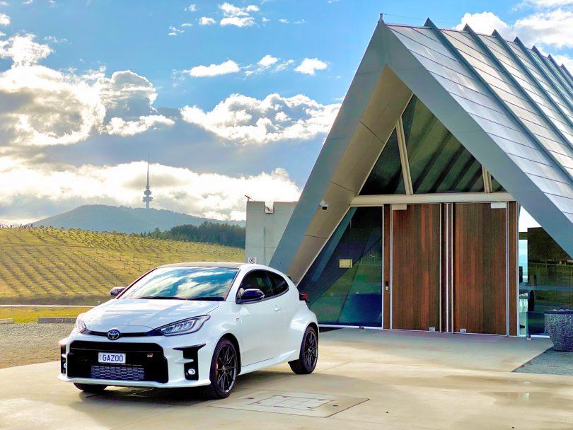 Toyota Yaris GR parked at Margaret Whitlam Pavilion at National Arboretum
