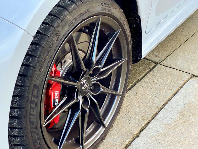 Wheel of Toyota Yaris GR Rallye car