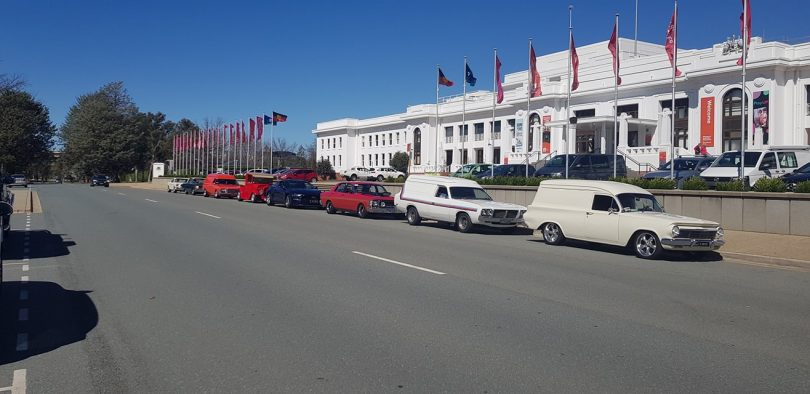Muscle cars parked outside Old Parliament House