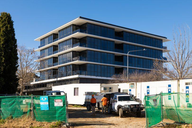 Apartment construction site.