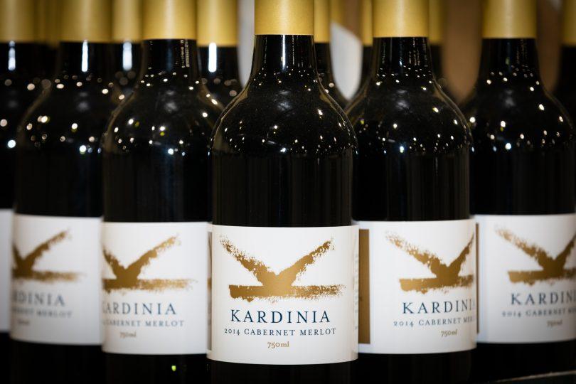 Bottles of Kardinia 2014 Cabernet Merlot.