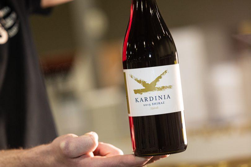 Bottle of Kardinia 2013 Shiraz.
