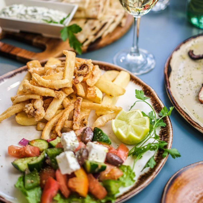 Calamari and Greek salad