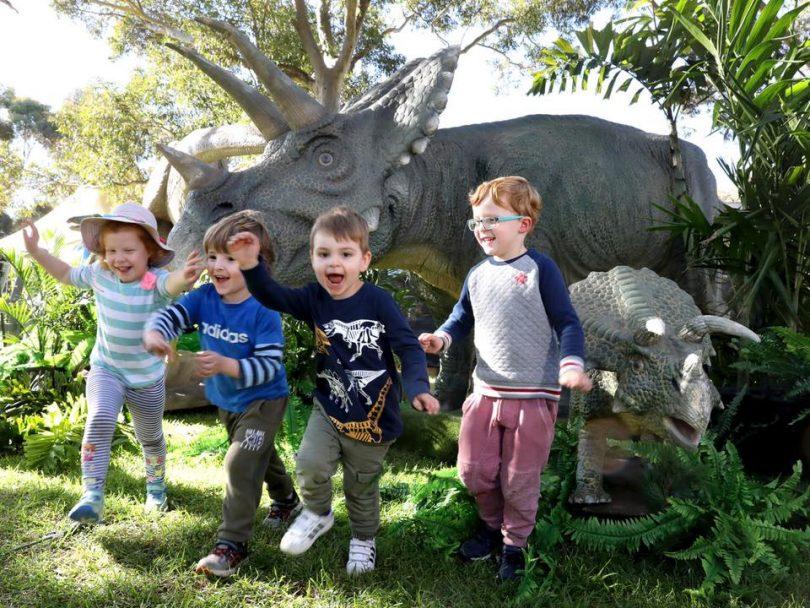 Kids with dinosaur