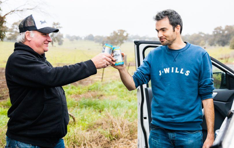 Richard Watkins and Dr James Gilbert sharing a beer