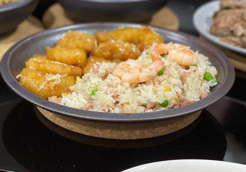 Fried rice and honey prawns at China Tea House