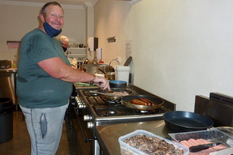 Ian McCulla cooking big breakfast