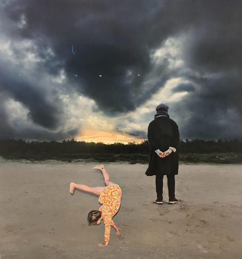 Girl and woman on beach