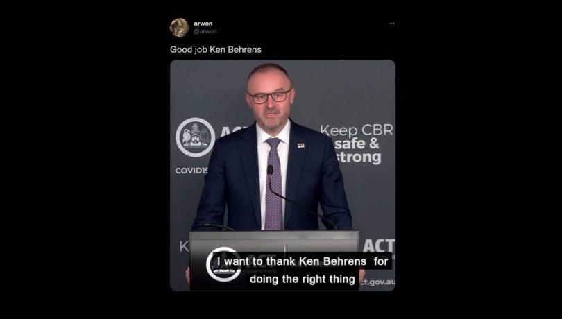 ACT Chief Minister Andrew Barr Ken Behrens tweet by Sean Lawson
