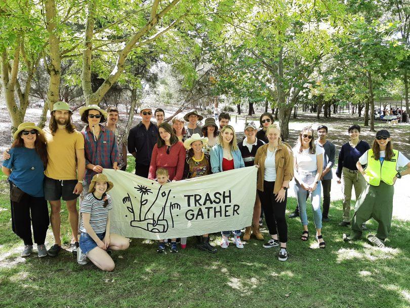group of trash gatherers at lake ginninderra