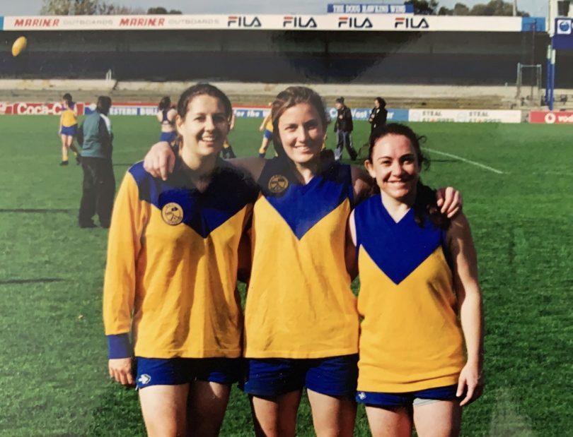 Megan Divett, Melissa Backhouse and Mandy Divett in the ACT Australian rules team in 2000