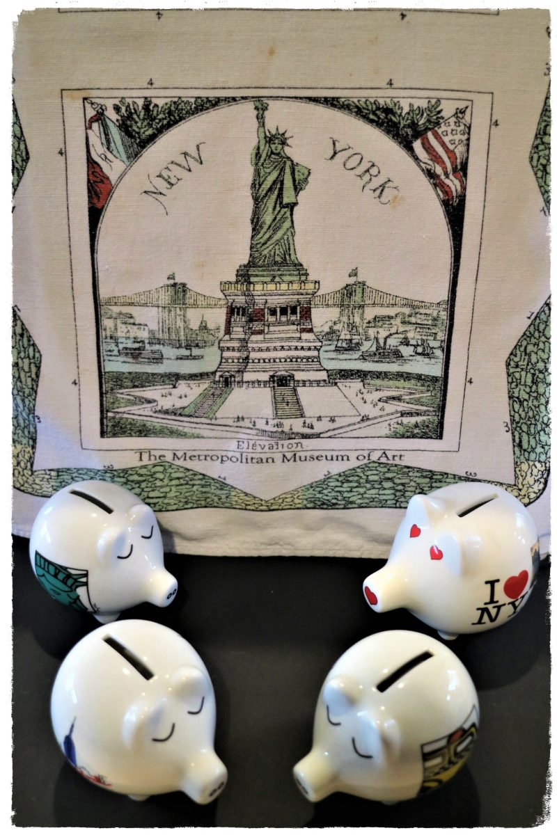 Four piggy banks from New York