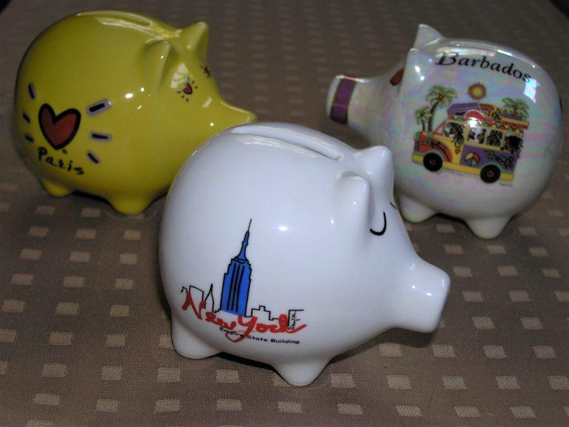 Three souvenir piggy banks