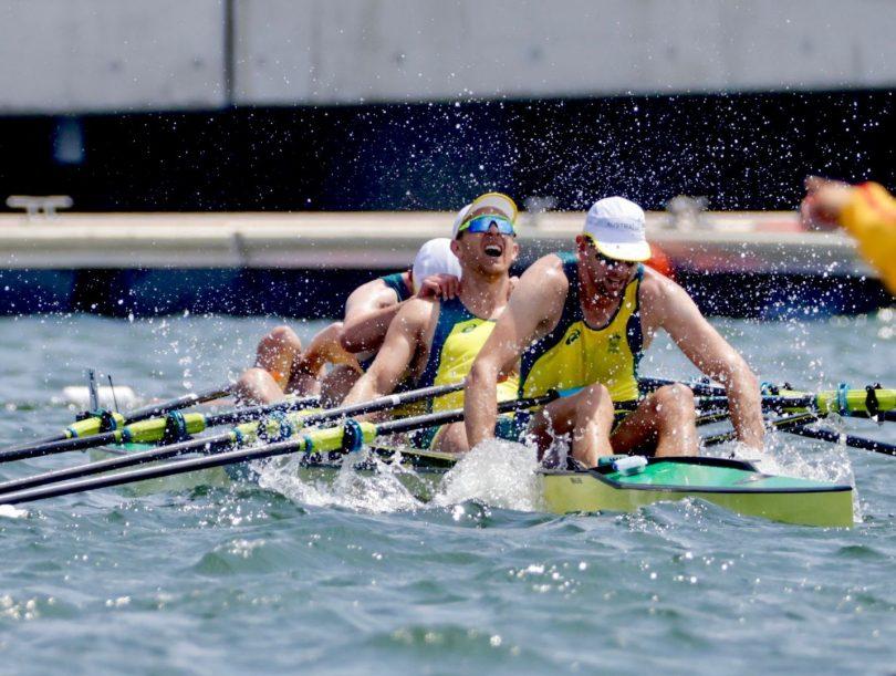 Australia's quadruple sculls rowing team celebrating winning bronze medal at Tokyo Olympics