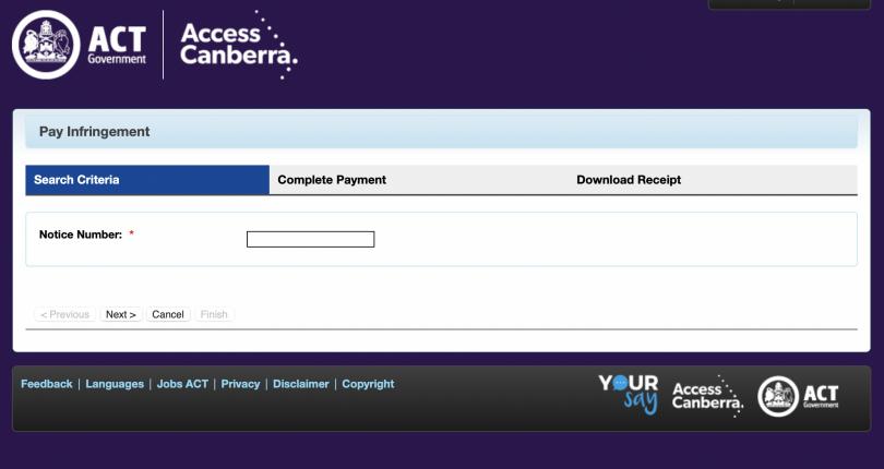 Screenshot of Access Canberra webpage