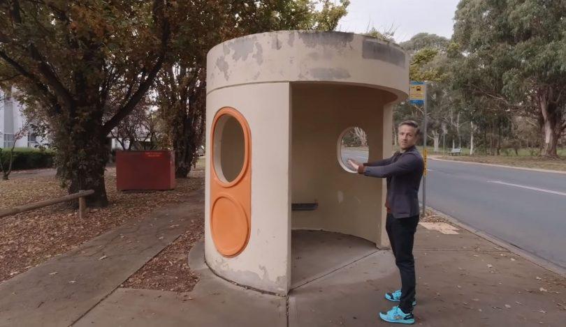 Archmarathon host Andrew Maynard admires a Canberra bus stop