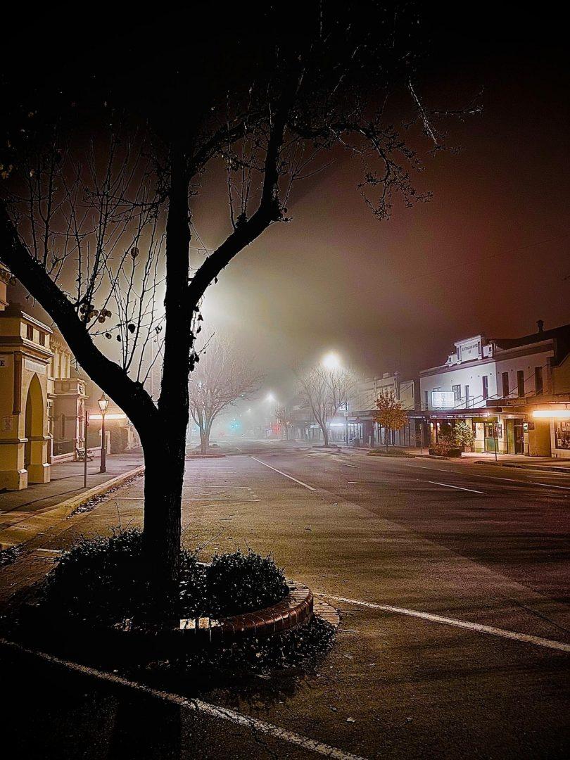 Empty main street of Yass at night