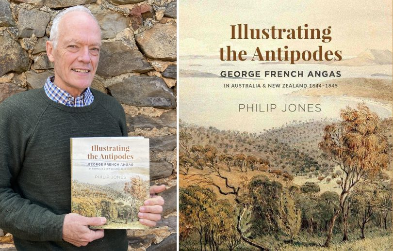 Philip Jones with his book, 'Illustrating the Antipodes'