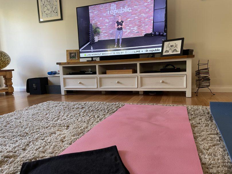 Pink yoga mat and hit republic workout