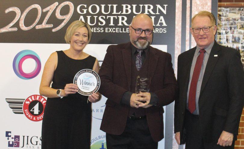 Danae Vitnell, Paul Scott-Williams and Bob Kirk at 2019 Goulburn Business Awards