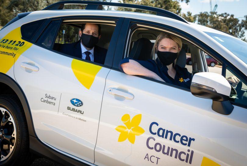 Subaru XV with Cancer Council branding.