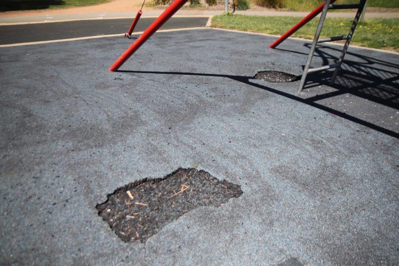 Damaged playground at Yerrabi Pond District Park