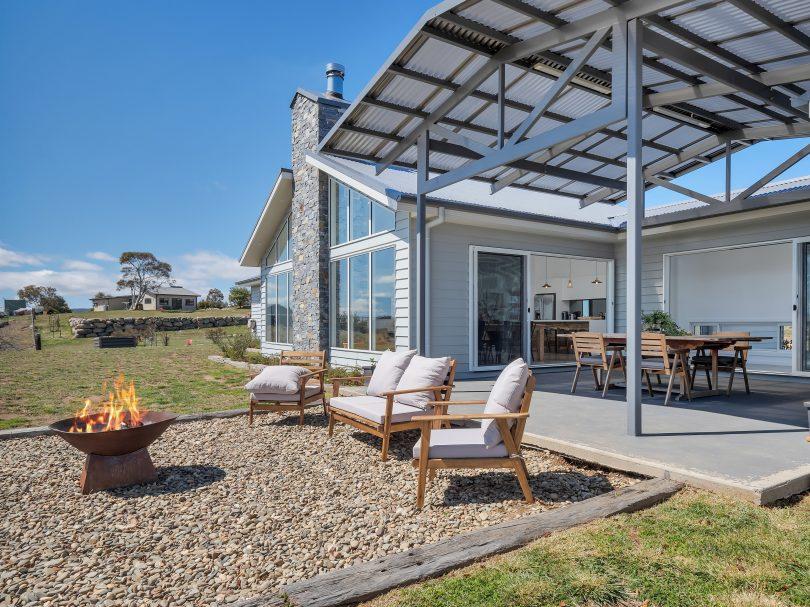 Backyard and firepit