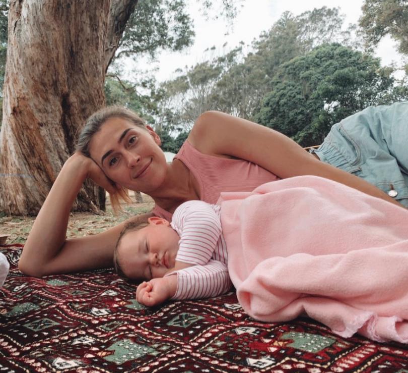 Alex Bunton with baby Opal