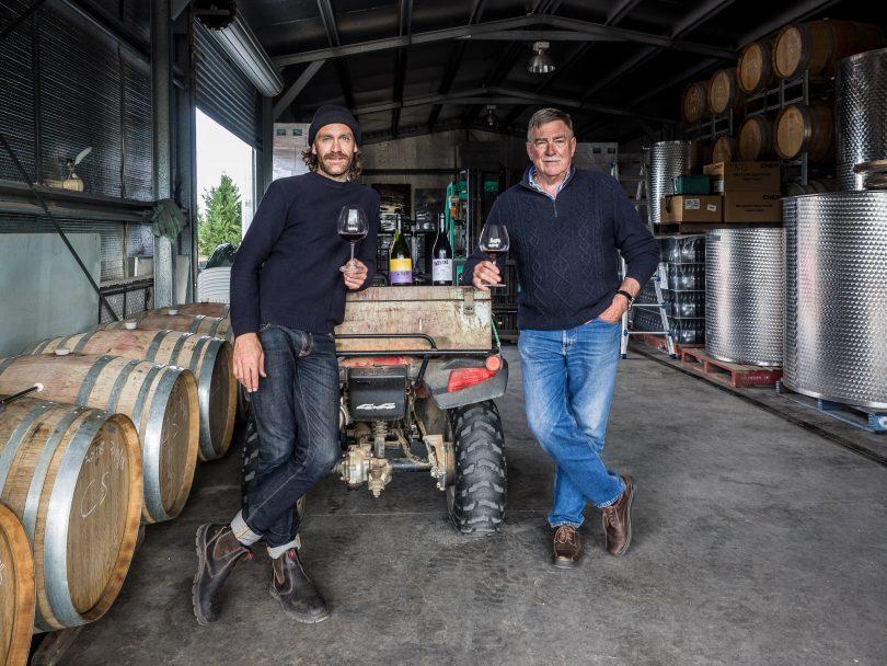 Sam Leyshon and John Leyshon in shed at Mallaluka Wines