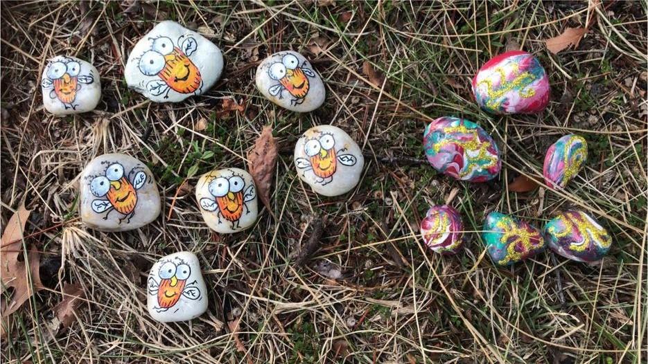 Painted rocks on ground