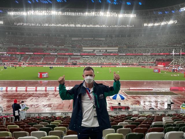 Luke Roberts in Tokyo Olympics stadium